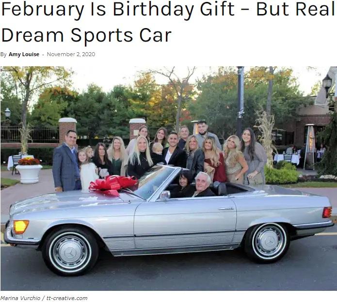 家族からのプレゼントの車に乗るポールさん(画像は『Happilynews.com 2020年11月2日付「February Is Birthday Gift – But Real Surprise Is His Dream Sports Car」(Marina Vurchio / tt-creative.com)』のスクリーンショット)