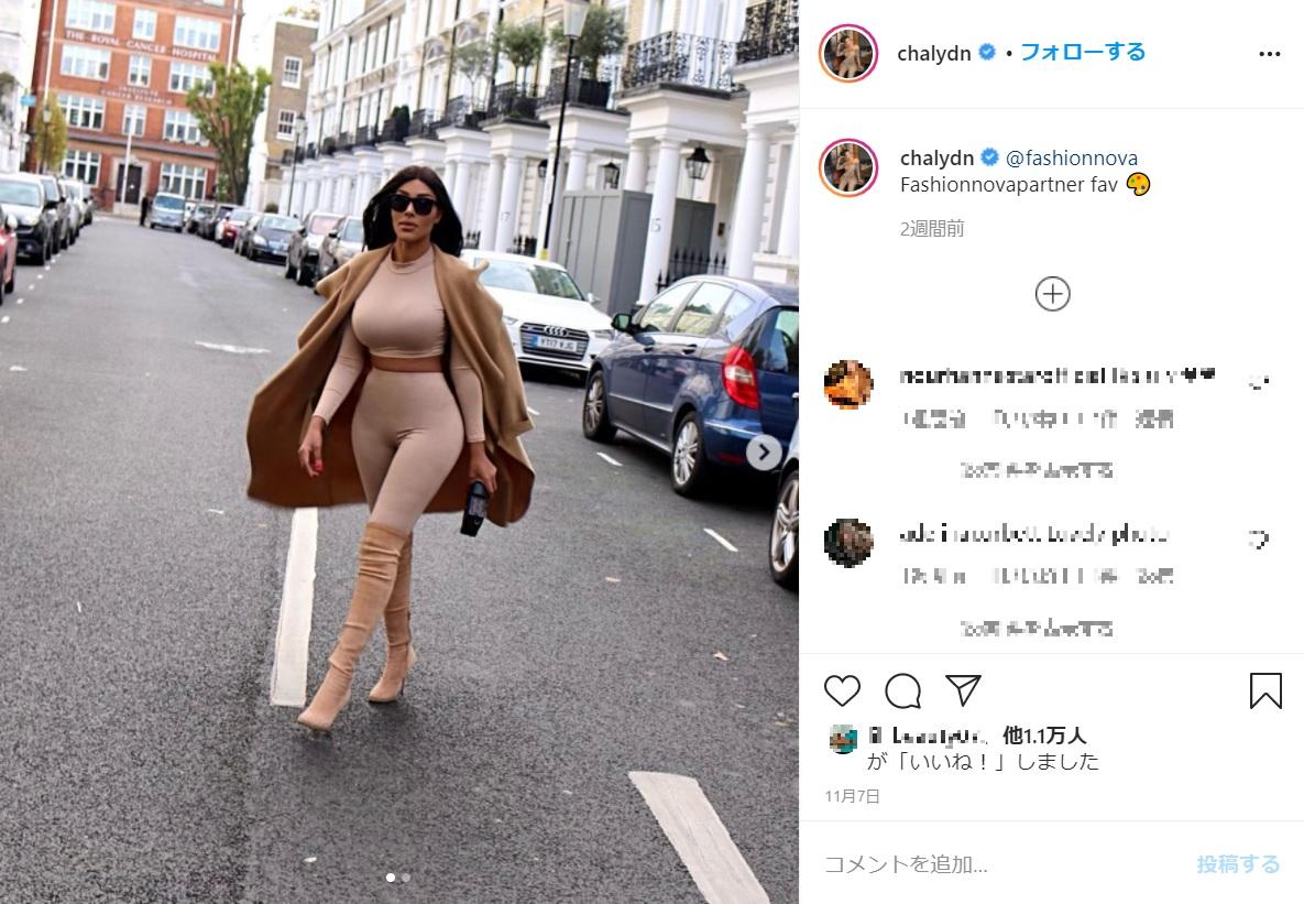 体型までキム・カーダシアンにそっくり(画像は『Chaly D.N 2020年11月7日付Instagram「@fashionnova Fashionnovapartner fav」』のスクリーンショット)