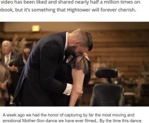 母の望みだったダンスを踊り感極まるスクーターさん(画像は『WZTV 2020年10月28日付「Emotional Tennessee mother-son dance shared worldwide after mother passes away from ALS」(MNF Productions)』のスクリーンショット)