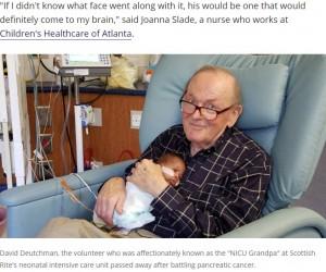 「ボランティアの仕事で恩恵を受けているのは自分」と語っていたデイヴィッドさん(画像は『FOX 5 Atlanta 2017年11月19日付「'NICU Grandpa' David Deutchman, who cuddled newborns, dies after battle with cancer」』のスクリーンショット)