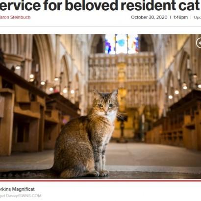 【海外発!Breaking News】教会に住み着き人気者だった猫の死を悼み、追悼式が行われる(英)<動画あり>