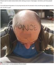【海外発!Breaking News】酔って居眠り中、頭に「性犯罪者」とタトゥーを入れられた男性 知人を訴える(英)
