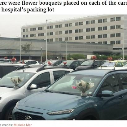 【海外発!Breaking News】病院スタッフの全ての車に花束のサプライズ 2度目のロックダウンのフランスで「涙ではなく笑顔を届けたい」