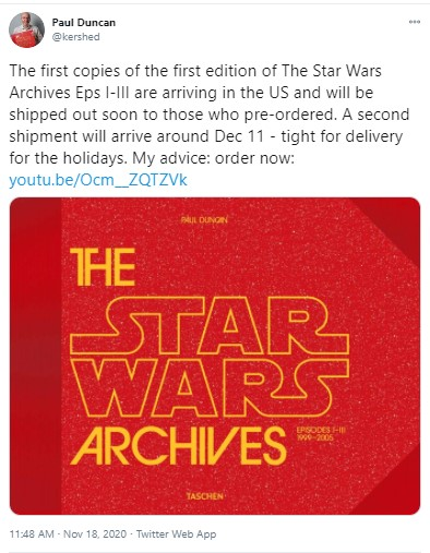 12月に米国で発売されるポール・ダンカン著の『The Star Wars Archives. 1999–2005』(画像は『Paul Duncan 2020年11月18日付Twitter「The first copies of the first edition of The Star Wars Archives Eps I-III are arriving in the US and will be shipped out soon to those who pre-ordered.」』のスクリーンショット)