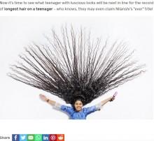 【海外発!Breaking News】世界一髪の長い10代「インドのラプンツェル」200センチになり歴代1位に<動画あり>