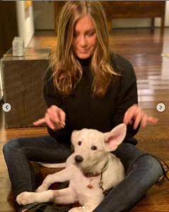 愛犬とのショット写真には、感謝祭を祝う言葉を添えたジェニファー(画像は『Jennifer Aniston 2020年11月27日付Instagram「We're grateful」』のスクリーンショット)