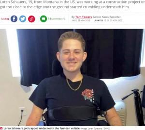【海外発!Breaking News】フォークリフト事故で下半身切断した19歳が奇跡の回復「失ったものは仕方ない。今あるもので最善を尽くしたい」(米)