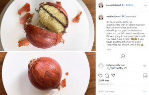 玉ねぎの皮まで本物そっくり(画像は『Natalie Sideserf 2019年12月18日付Instagram「Onion cake!」』のスクリーンショット)