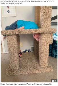 なぜこの体勢で動画を見ようと思ったのか(画像は『The Sun 2020年11月20日付「TOT IN A TREE Boy stuck in cat scratch-post tree had to be rescued by firefighters」』のスクリーンショット)