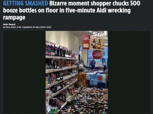 【海外発!Breaking News】スーパーマーケットで女が無言で酒瓶を投げ割り続ける 被害総額は約1350万円とも(英)<動画あり>