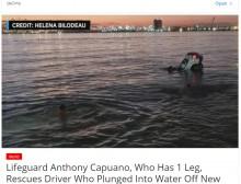 【海外発!Breaking News】義足のライフガード、車ごと海に転落した男性を救出 見守っていた周囲から拍手沸く(米)<動画あり>
