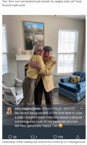 自宅でリーさんと抱き合うオリヴァさん「本当に幸せ」とコメント(画像は『theCHIVE 2020年10月20日付「Vile Teenage Gold-Digger marries 89-year-old, gets caught by Twitter」』のスクリーンショット)