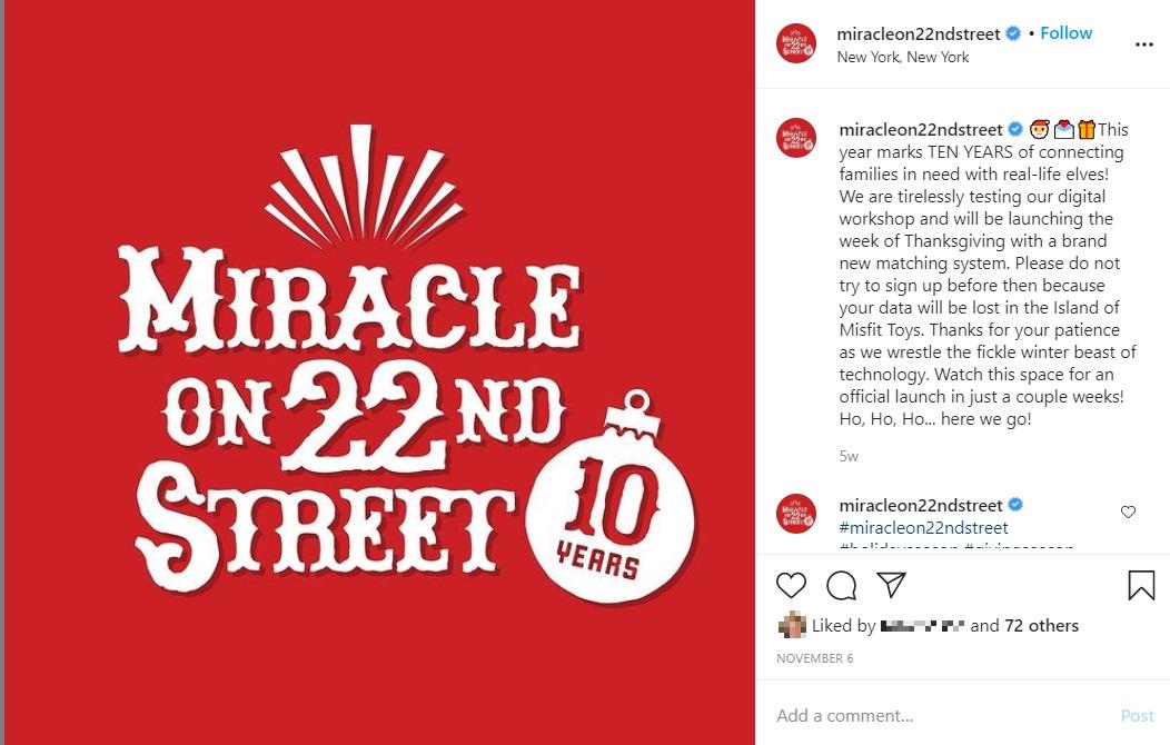 今年で活動10年目を迎える非営利団体「Miracle On 22nd Street」(画像は『Miracle On 22nd Street 2020年11月6日付Instagram「This year marks TEN YEARS of connecting families in need with real-life elves!」』のスクリーンショット)