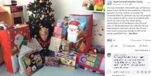 2018年に活動を始めた頃のエリオット君(画像は『Royal Cornwall Hospitals Charity 2018年12月20日付Facebook「You may remember a few weeks ago we told you about 6 year old Elliott」』のスクリーンショット)