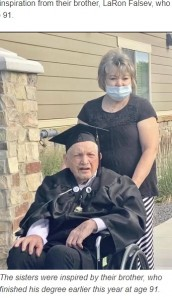 6月に91歳で高校を卒業したラロンさん(画像は『KSLTV.com 2020年11月27日付「Cache Valley Woman Gets High School Diploma At Age 95」』のスクリーンショット)