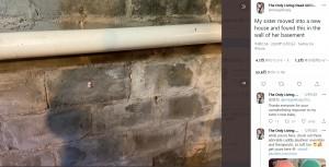 【海外発!Breaking News】引越したばかりの家の地下室の壁に不気味な埋め込み物 「今すぐその家を出た方がいい」の声も 古くからの慣例か?(米)