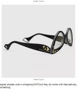 小さなGucciのロゴも確認できる(画像は『LADbible 2020年12月11日付「People Are Confused By Gucci's New Sunglasses Design」(Credit: Gucci)』のスクリーンショット)