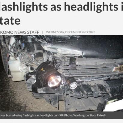 【海外発!Breaking News】ヘッドライト部分に懐中電灯が取り付けられた車 SNS上では「みんなやってるけど」(米)