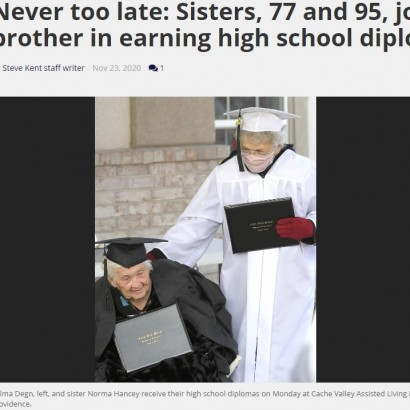 【海外発!Breaking News】「ずっと夢だった!」95歳と77歳の姉妹、92歳の弟に続き高校を卒業(米)
