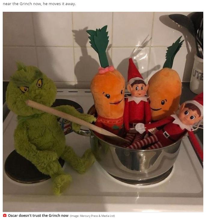 グリンチがエルフたちを煮込む様子なども演出(画像は『Mirror 2020年12月4日付「Mum leaves son, 5, in tears after 'cruel' Elf on the Shelf prank backfires」(Image: Mercury Press & Media Ltd)』のスクリーンショット)
