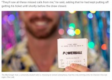 宝くじで15億円を当てた20代大学生 「二度と働かないよ」(豪)