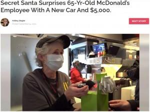 【海外発!Breaking News】マクドナルドで働く65歳女性、シークレットサンタからのサプライズに涙(米)