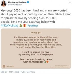 「愛を広めたい」と記されたキムのメッセージ(画像は『Kim Kardashian West 2020年12月21日付Twitter「Hey guys! 2020 has been hard and many are worried about paying rent or putting food on their table」』のスクリーンショット)