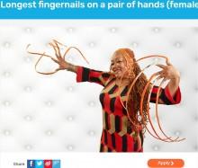 【海外発!Breaking News】世界最長の両手の爪を「490万円でどうかしら?」売りに出した女性(米)<動画あり>
