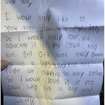 【海外発!Breaking News】「サンタさんへ、パパの仕事を手伝って」 息子の切実な願いに配送ドライバーの男性が涙(米)