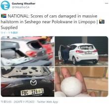 【海外発!Breaking News】 ゴルフボールサイズのヒョウで車が穴だらけに 車内で傘をさす人も(南ア)