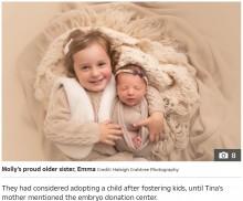 【海外発!Breaking News】世界最長! 27年前の凍結胚から女児誕生 姉の記録24年を抜く(米)