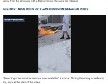 【海外発!Breaking News】火炎放射器で除雪する男性 豪快なアイディアに賛否両論(米)<動画あり>