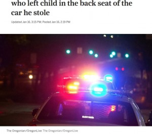 【海外発!Breaking News】鍵がついたままの車を盗んだ泥棒、後部座席の子供に気付き引き返して母親に説教(米)