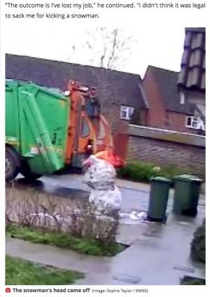 【海外発!Breaking News】3歳児が作った雪だるまを蹴って壊したゴミ収集作業員、父親のクレームで解雇(英)<動画あり>