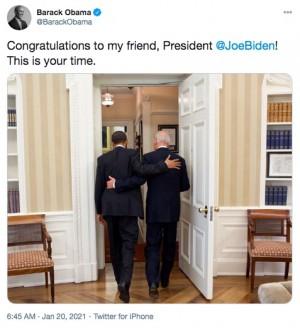 【イタすぎるセレブ達】オバマ氏「今度は君の番だ」 バイデン新大統領就任でハリウッドセレブ達も歓喜のツイート