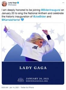 大統領就任式にて国歌を独唱するレディー・ガガ(画像は『Lady Gaga 2021年1月14日付Twitter「I am deeply honored to be joining @BidenInaugural on January 20 to sing the National Anthem and celebrate the historic inauguration of @JoeBiden and @KamalaHarris!」』のスクリーンショット)