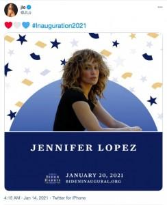 ミュージカル・パフォーマーとして就任式を彩るジェニファー・ロペス(画像は『jlo 2021年1月14日付Twitter』のスクリーンショット)