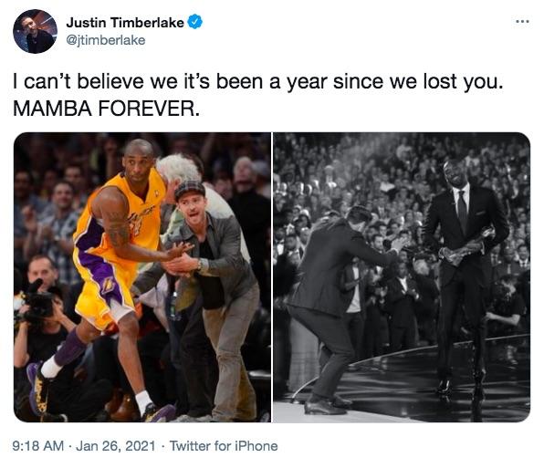 ジャスティン・ティンバーレイクも1周忌にトリビュートツイート(画像は『Justin Timberlake 2021年1月26日付Twitter「I can't believe we it's been a year since we lost you.」』のスクリーンショット)