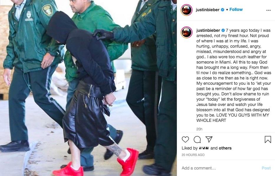 「過去は、神が君をどれだけ成長させてくれたかを示す指標」とジャスティン(画像は『Justin Bieber 2021年1月23日付Instagram「7 years ago today I was arrested, not my finest hour.」』のスクリーンショット)