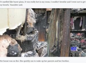 燃え尽きてしまったキャシディちゃんの部屋(画像は『INFORUM 2021年1月28日付「10-year-old girl, kitten save Pembina County family from burning homes」』のスクリーンショット)