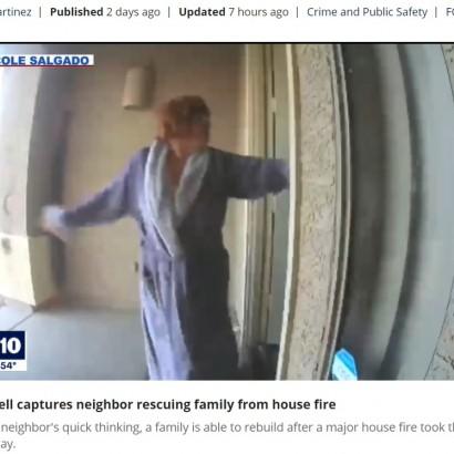 【海外発!Breaking News】背後に炎と煙が迫る中、寝間着姿でドアを叩き続けた勇敢な女性 隣人一家の命を救う(米)<動画あり>
