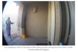 炎が迫る中、諦めずにドアをノックし続けたカロラインさん(画像は『LADbible 2021年1月4日付「Hero Neighbour Saves Couple And Four Kids From House Fire」(Credit: Facebook/Nicole Salgado)』のスクリーンショット)