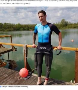 冷たい水の中で泳いだ経験があったというダーシーさん(画像は『YorkshireLive 2021年1月10日付「Man who jumped into frozen Pontefract Park lake to save drowning dog speaks out - and insists he's not a hero」』のスクリーンショット)
