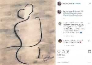 イマンが公開した手書きの絵(画像は『IMAN 2021年1月10日付Instagram「January 10th」』のスクリーンショット)