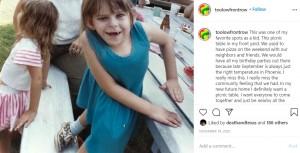 幼い頃のケリーさん(画像は『Kelly Lynch (Kelly O'Kelly) 2020年11月19日付Instagram「This was one of my favorite spots as a kid.」』のスクリーンショット)