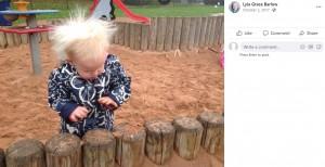 まだ幼い頃のライラちゃん(画像は『Lyla Grace Barlow 2017年10月2日付Facebook』のスクリーンショット)