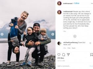 家族と過ごす時間に心から感謝しているというマットさん(画像は『Matt Manzari・Wolfwithin 2020年7月25日付Instagram「People say Life is short, but life is also long.」』のスクリーンショット)
