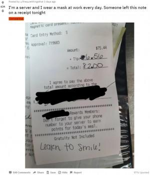 【海外発!Breaking News】マスクをしたレストランの店員に「笑顔を学べ」と客 「人間不信になりそうだ」嘆く(米)