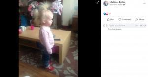 髪がまとまらないライラちゃん(画像は『Lyla Grace Barlow 2018年8月13日付Facebook』のスクリーンショット)