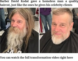 見事に変身したホームレスの男性(画像は『Bored Panda 2021年1月21日付「Awesome Barber Transforms This Homeless Man For Free And His Before And After Pics Show Another Man」』のスクリーンショット)